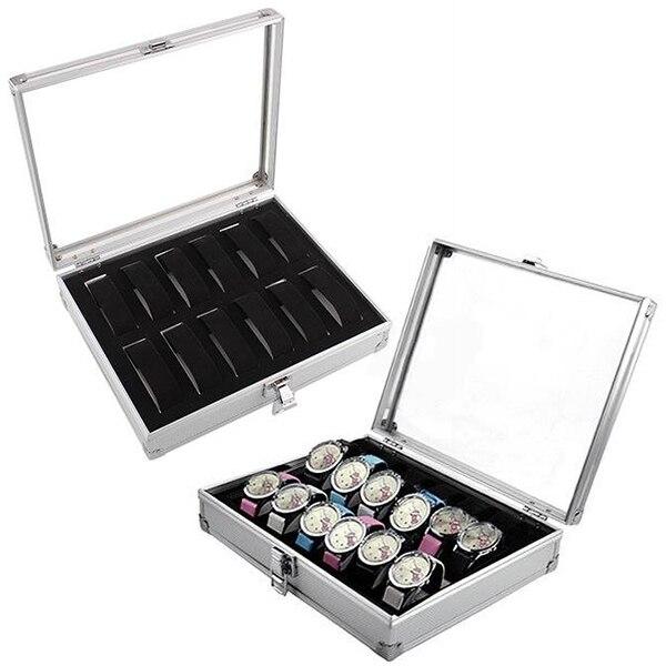 12 Grids Rectangle Watch Box Watch Holder Storage Box Aluminium Plastic Watch Organizer Cabinet коробка для часов Gift Box