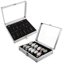 Прямоугольная коробка для часов с 12 ячейками, держатель для часов, коробка для хранения, алюминиевый пластиковый органайзер для часов, шкаф для хранения, подарочная коробка