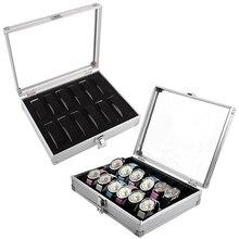 Caja rectangular de 12 rejillas para reloj, caja de almacenamiento para reloj, organizador de plástico de aluminio para reloj, caja de regalo