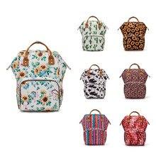 Floral Printed torba na pieluchy torby ciążowe torby na pieluchy plecak podróżny duża pojemność opieka nad dzieckiem torby na wózek LEQUEEN