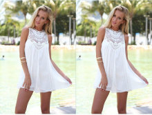 Summer  Ladies Dresses Chiffon Stitching Lace Women Dress Collar Sleeveless 2019