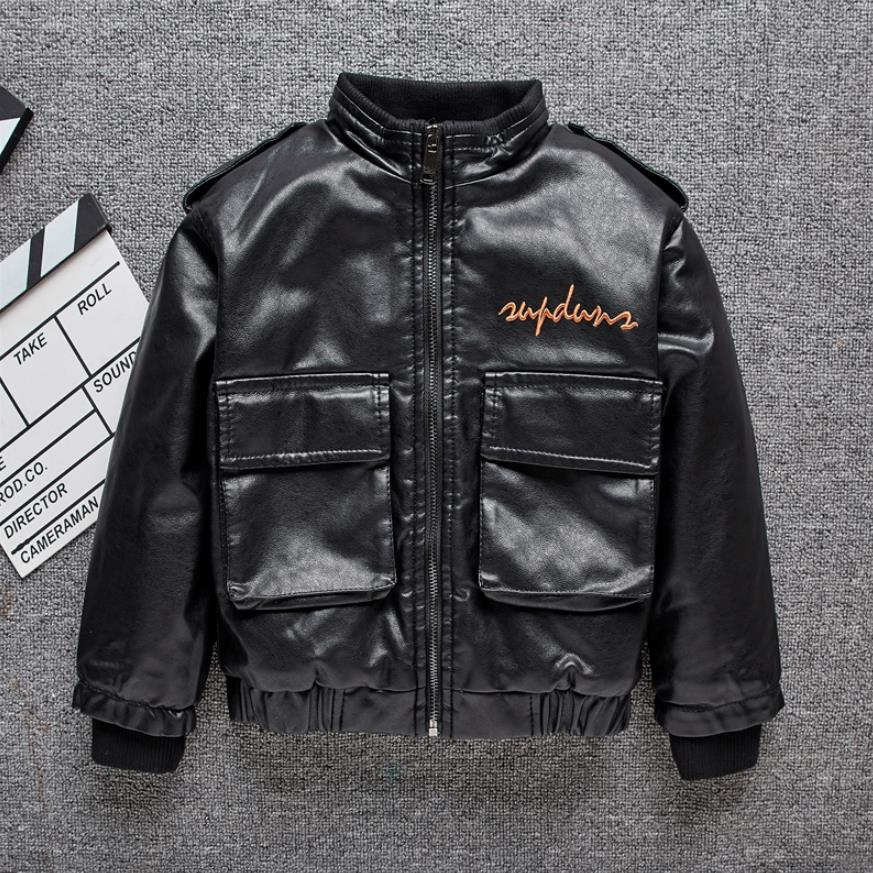 Children's Plus velvet Warm PU Leather jackets boys letter print locomotive Outerwear modis kids Winter leather jackets  Y2553