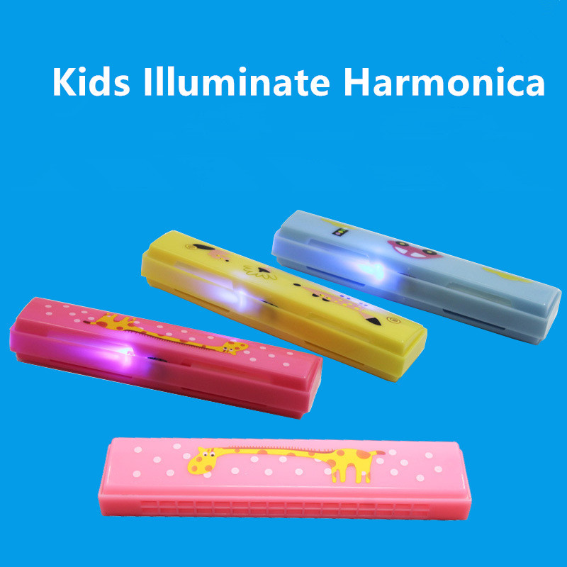 16 Holes Illuminate Harmonica Musical Instrument Montessori Educational Toys Cartoon Pattern Kids Wind Instrument Children Gift