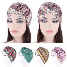 Indie kobiety plisowane drukowane kapelusz do noszenia po chemoterapii czepek dla osób po chemioterapii muzułmańska utrata włosów szalik na głowę pokrowiec owijający Turban Arab Bonnet Beanie Skullies nowość