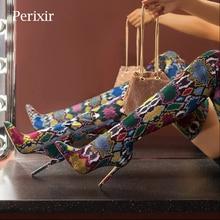Snake Print Stretch Fabrics  Boots