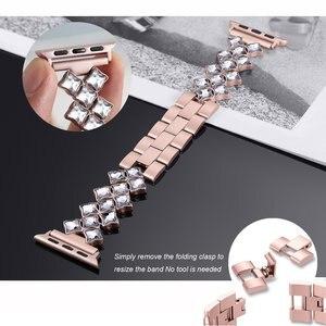 Image 4 - Correa para Apple Watch de 38/42mm, 40mm, 44mm, pulsera de diamante para mujer, apple watch Series 6 SE 5 4 3 2, correa de acero inoxidable