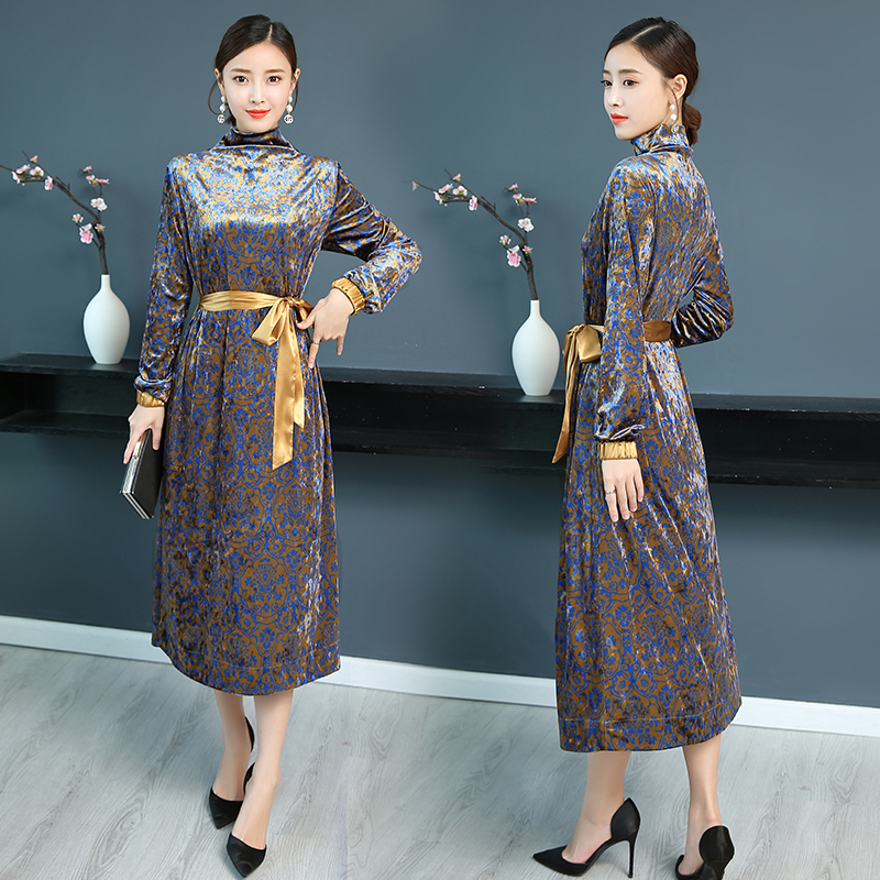 winter light luxury velvet jacquard dress 1
