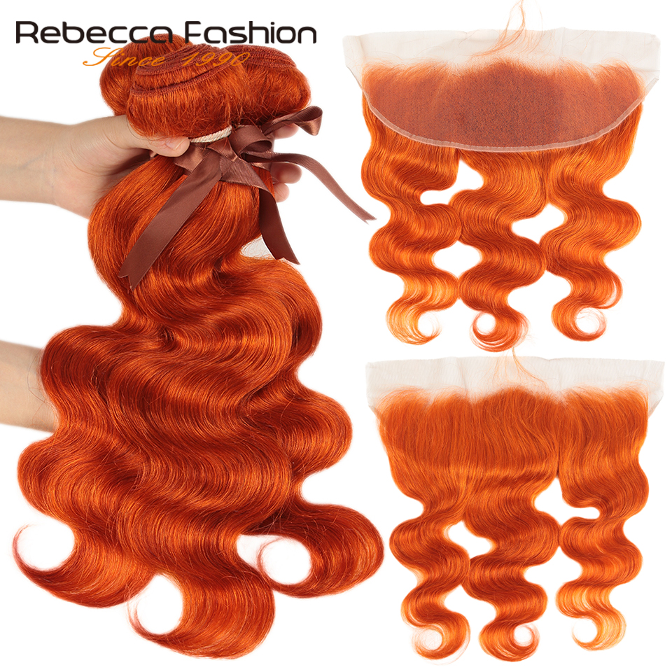 Rebecca Orange Bundles With Frontal Body Wave Frontal With Bundles Brazilian Remy Human Hair 3 Bundles With Closure