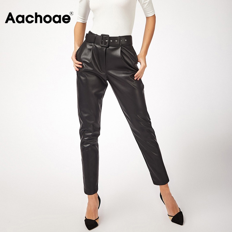 Aachoae Women Black Faux Leather Pants With Belt High Waist Pants Sashes Pockets Office Ladies Pu Leather Long Harem Trousers