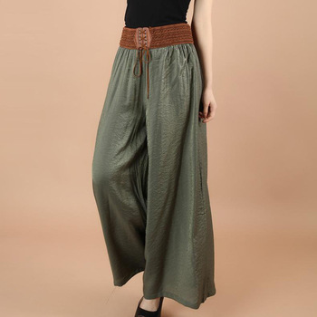 Women new casual straight pants  women female drawstring loose high waist knitted wide leg Trousers Female Pants