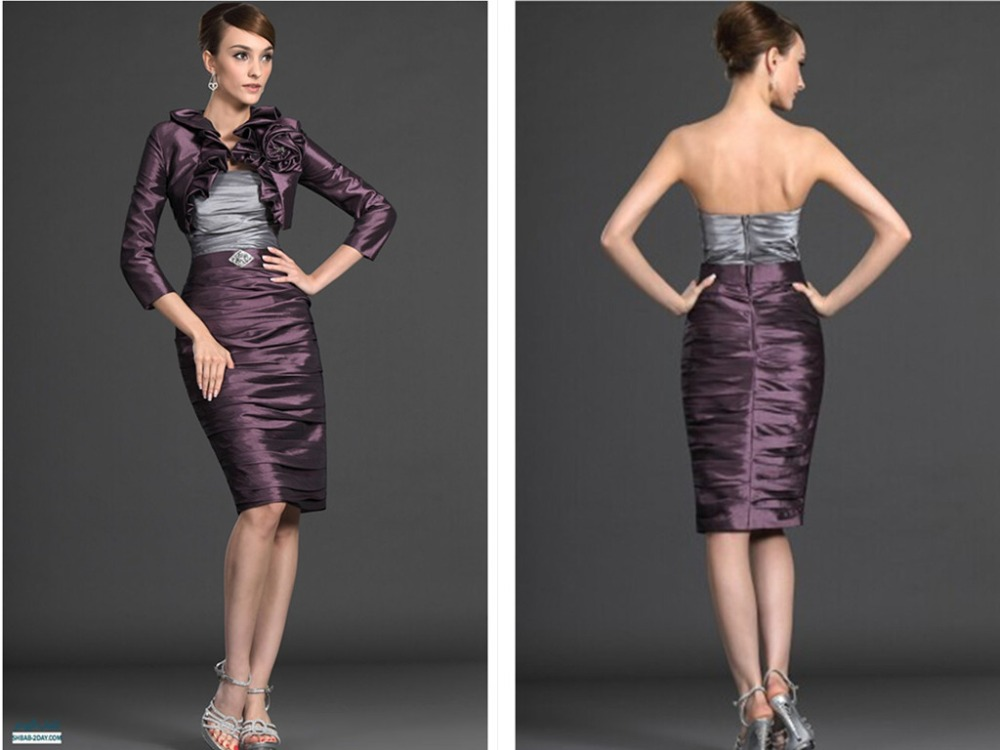 Strapless Mother Of The Bride Dresses With Jacket For Weddings 2015 Flower Crystal Party Gown Taffeta Sheath Pleat Knee Length