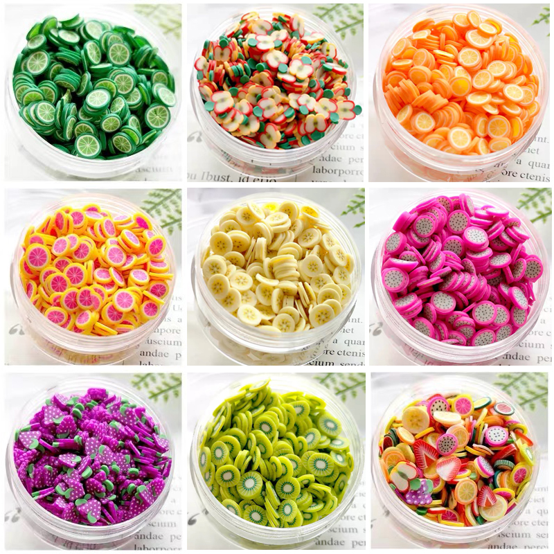 Fimos Fruit Slices For Fluffy Slime Supplies Charms For Lizun Polymer Soft Clay Slime Accessories Glue Decor Toys