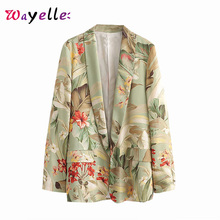 Women Blazers and Coats Retro Tide Floral Print Pocket 2019 Winter Fashion Office Lady Outerwear Jackets