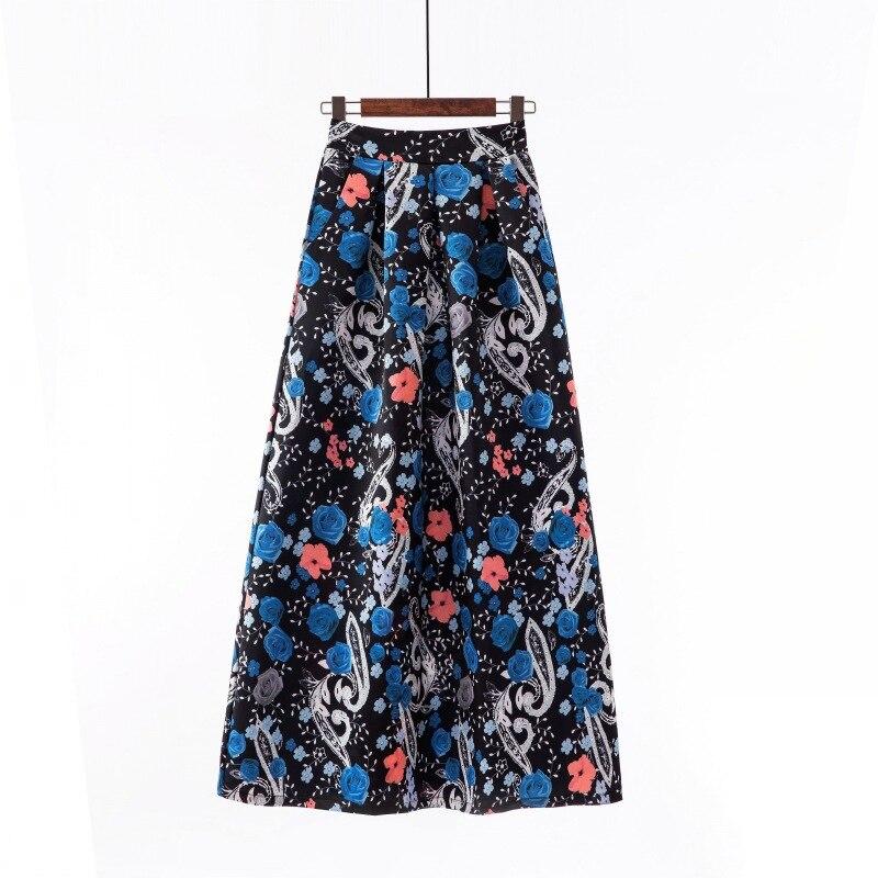 Популярная винтажная юбка с цветочным принтом, Женская шикарная широкая юбка в горошек в стиле инди, новая туника с высокой талией, дамские ...