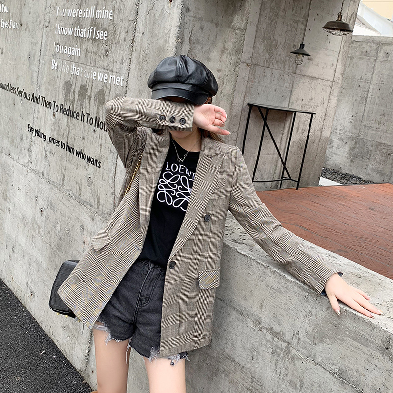 Long Sleeve Small Suit Coat Online Celebrity British Style Plaid Suit Women's Spring and Autumn New Style Korean-style