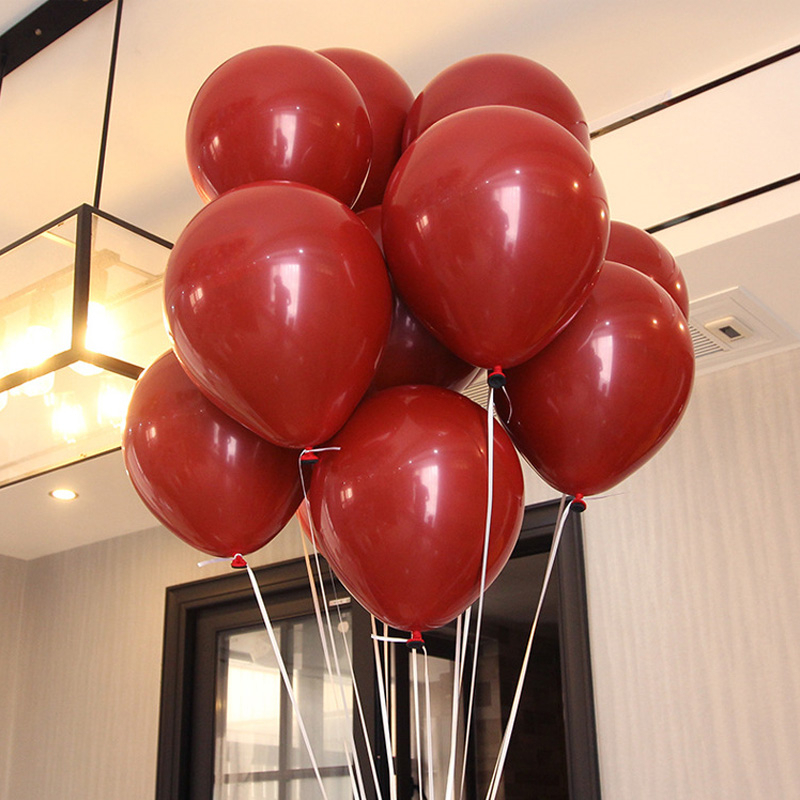 50 PCS / LOT 10 Inch New Latex Balloon Ruby Red Globos Inflatable Helium Balloon Birthday Party Decoration Ball