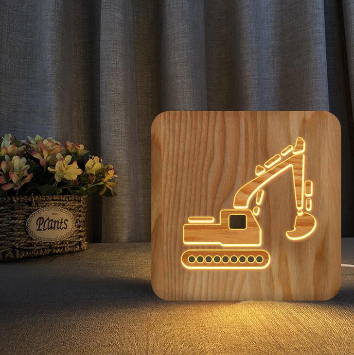Светодиодный ночсветильник для детской комнаты, настосветильник лампа для автомобиля, грузовика, Рождественская модель экскаватора, дерев...