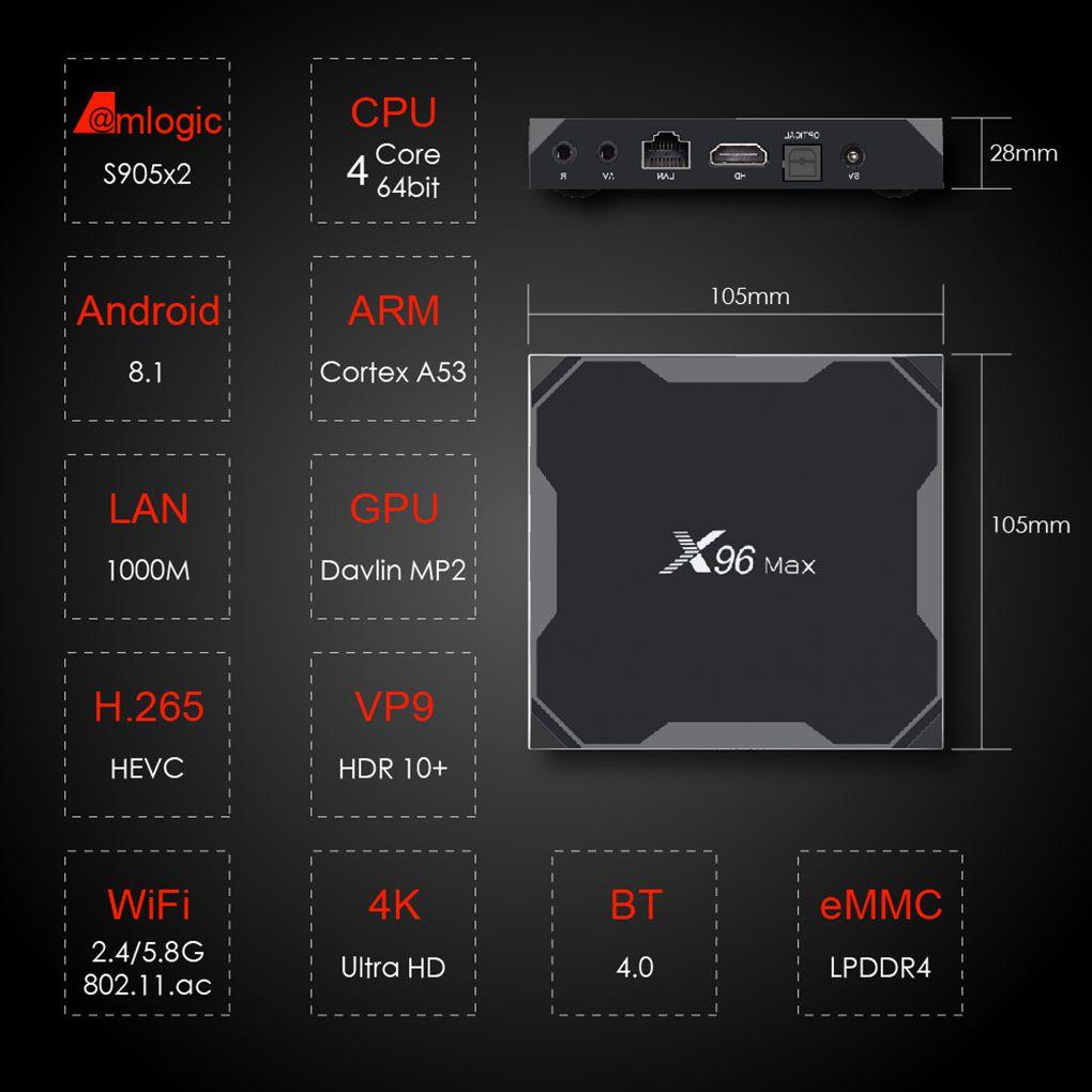 X96 Max Smart TV BOX 2G + 16G/4G + 32G/4G + 64G TV BOX remplacement pour Android 8.1 Amlogic S905X2 Quad Core