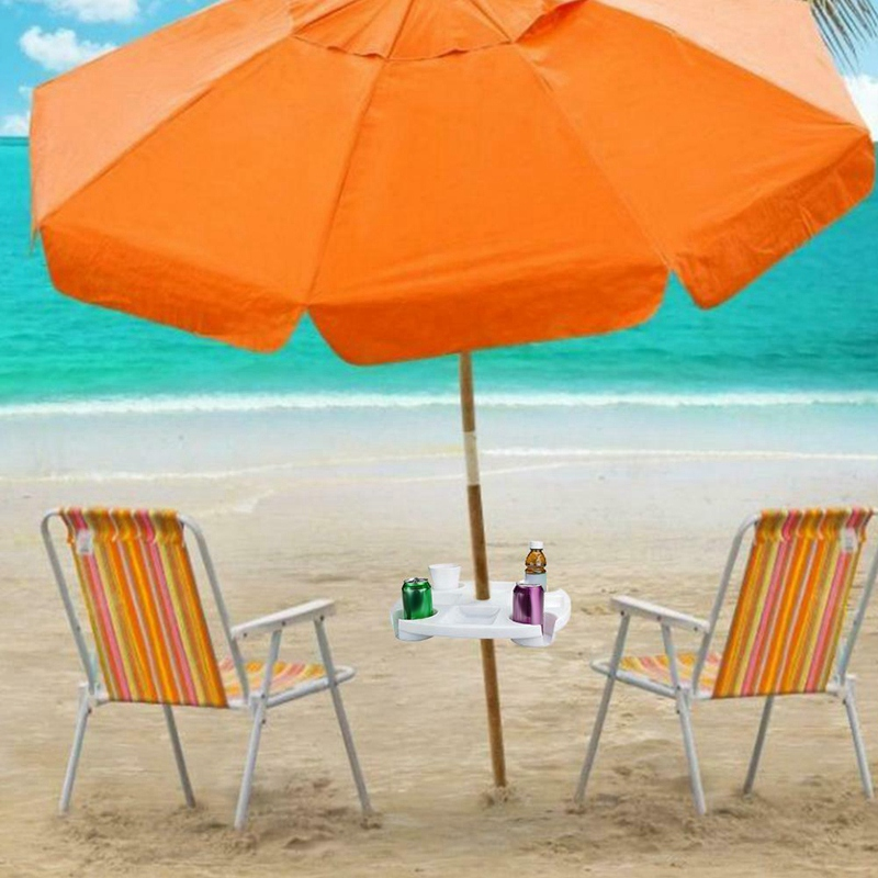17 Inch Round Plastic Holders Snack Cups Beach Umbrella Table with Cup for Garden Swimming Pool