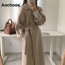 Aachoae feminino elegante casaco de lã longa com cinto cor sólida manga longa chique outerwear senhoras outono inverno 2020