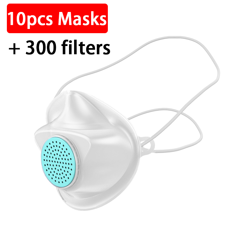 10pc Replaceable Mouth Face Mask +300 Filter Anti Influenza Bacteria Flu Dust Proof PM2.5 Safety Non-disposable Care Mask