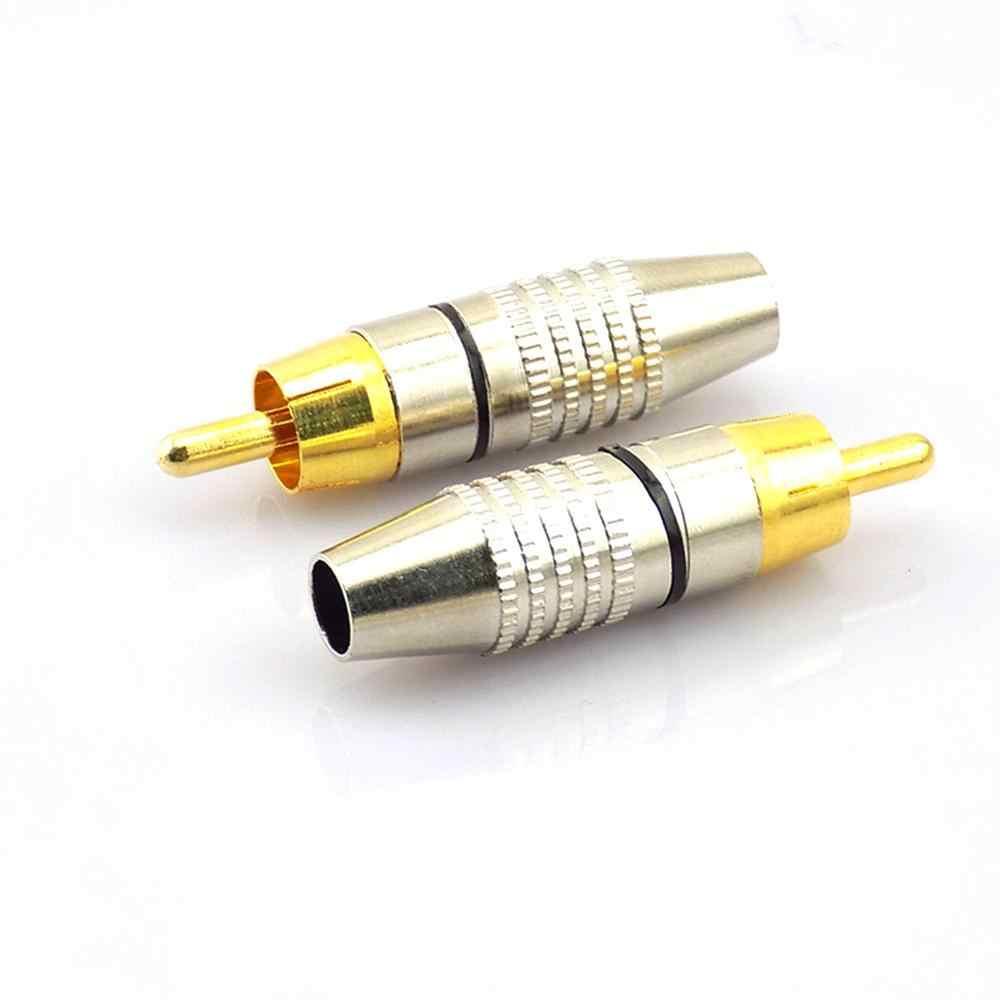1/4/10Pcs RCA Male Konektor Non Solder Adaptor Steker untuk Kabel Audio Plug Video Kamera CCTV solder-Gratis Kuantitas Tinggi
