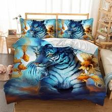 3D Tiger Fish Bedding set Animal Print Duvet Cover Pillowcase Twin queen king size Bedclothes Bed linen 3pcs home textiles
