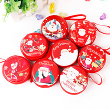 New Fashion Christmas Creative Gift Coin Purse Tinplate Mini Red Round Bag Headset Key Zipper For Women Girl Hot S
