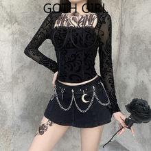 Женская уличная кружевная рубашка goth girl с квадратным вырезом
