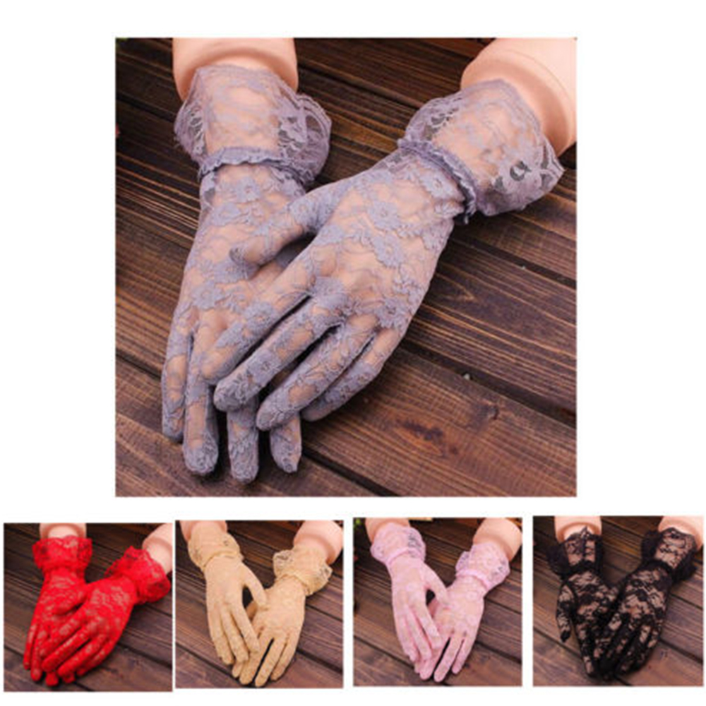 Sexy Lace Short Full Gloves Evening Party Pageant Gloves High Elasticity Knit Mesh Mittens Breathable Sun Gloves