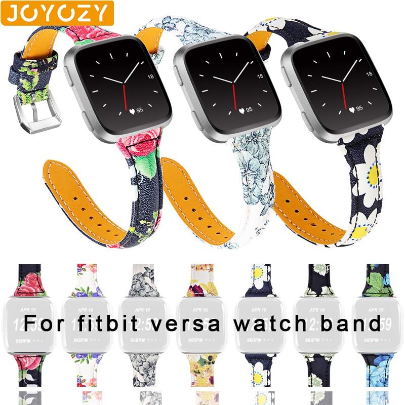 Joyozy Fashion Personality 20mm Watch Band For Fit Bit Series Versa Versa2 Watch Classic Leather Strap For Fitbit Versa Versa 2