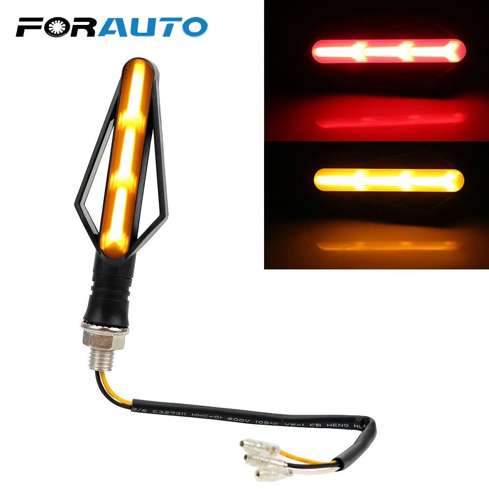 FORAUTO 1 Piece Motorcycle Tail Brake Lights Indicator Blinker Streamer Flashing Signal Lamp Moto Turn Signal Lights Fish Bone