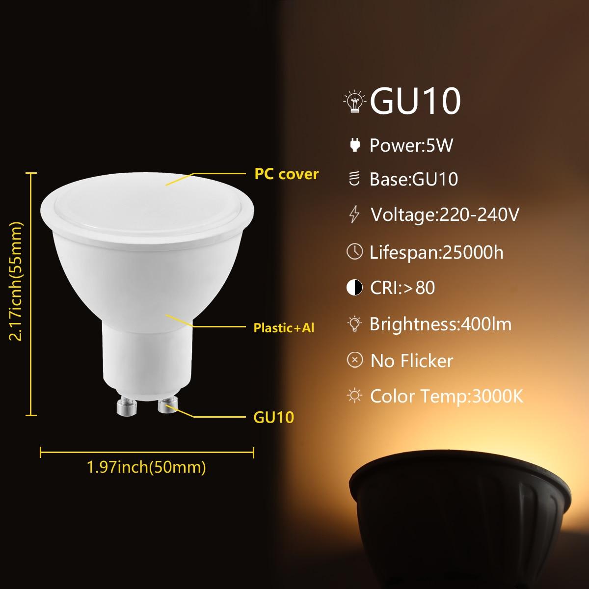 Super Bright LED Spotlight GU10 5W Lighting Bulb 220V-240V Indoor Lighting 3000K/6000K Home Decoration Bombillas