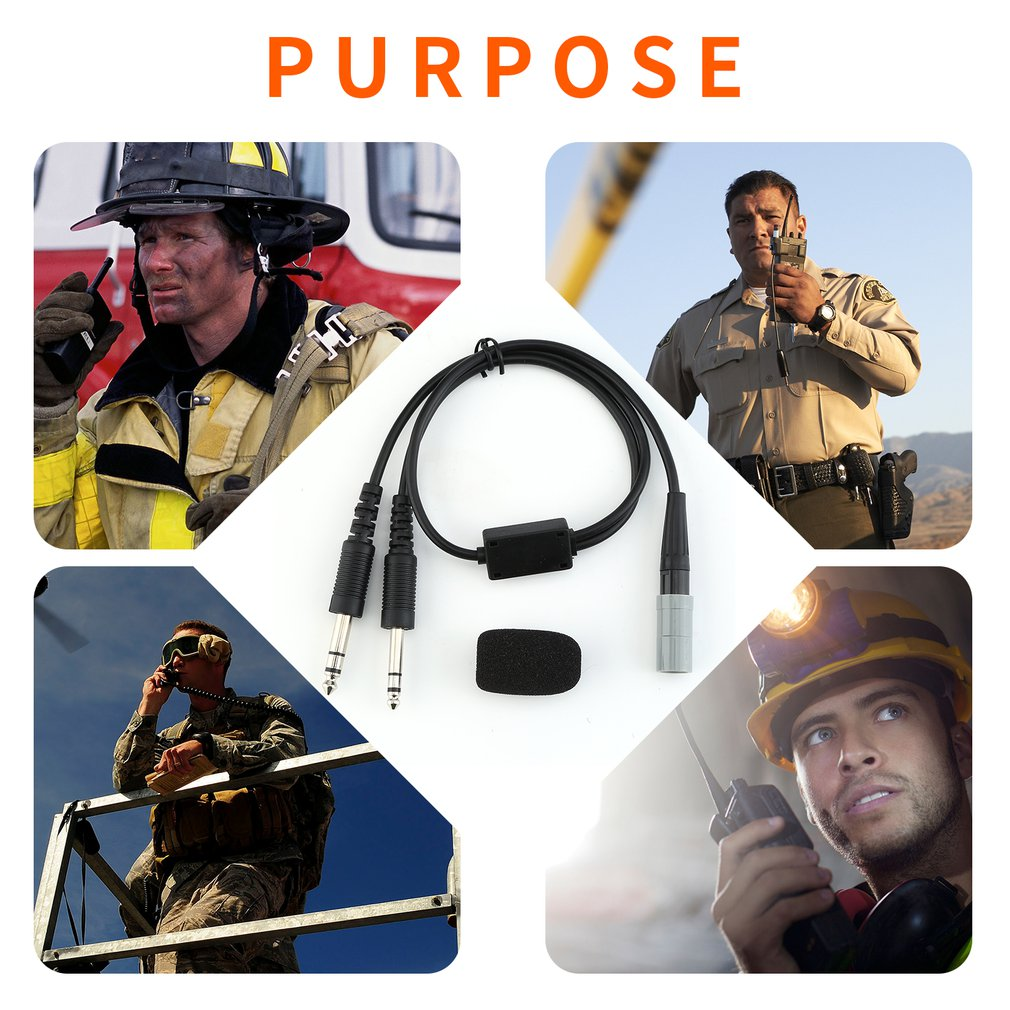 Headset Accessories For Bose A20 Lemo 6 Pin To General Aviation Twin Plugs Adapter Aviation Headset Microphone Sponge