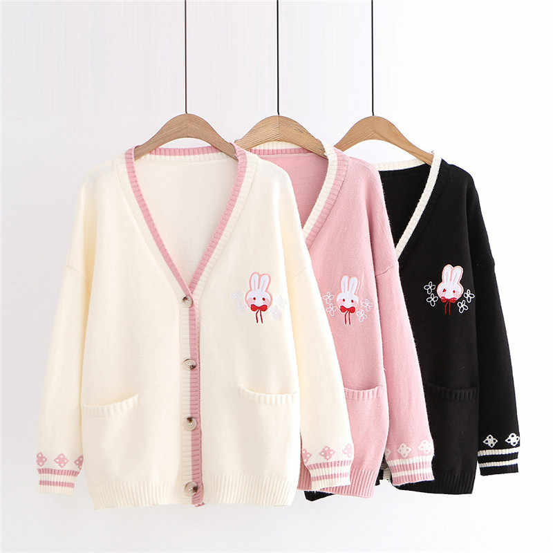 Fashion student knit cardigan jacket bunny embroidery sweater coat casual top women sweet V-neck loose sweaters outerwear 3297