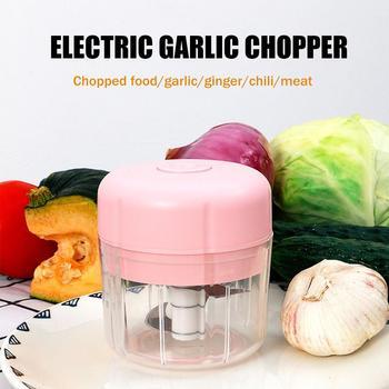 Mini picadora eléctrica de alimentos, recargable por USB picadora de alimentos, procesador de picadora eléctrica de cocina, trituradora de verduras y ajo