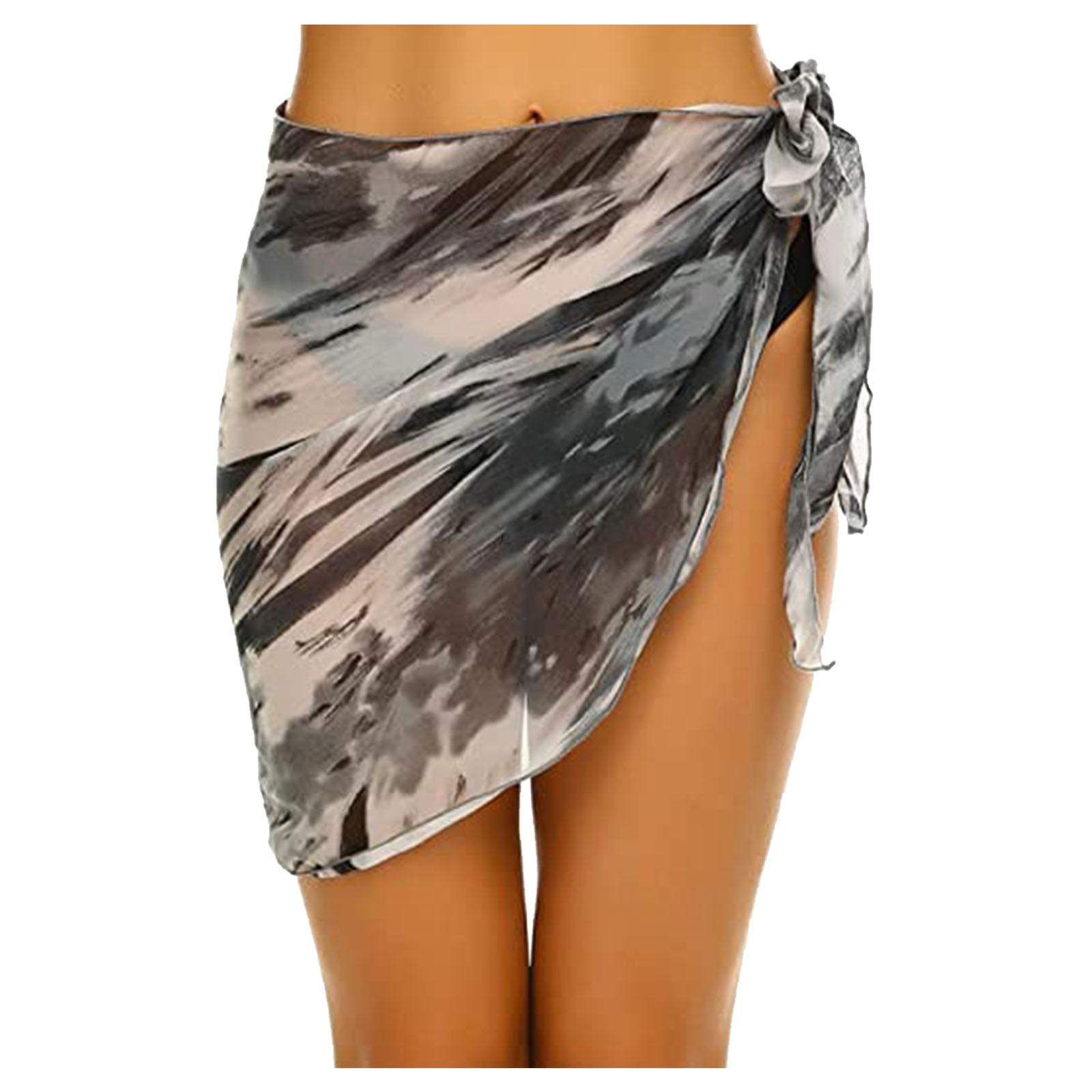 Women Short Sarongs Beach Wrap Sheer Bikini Wraps Chiffon Cover Ups for Swimwear 4