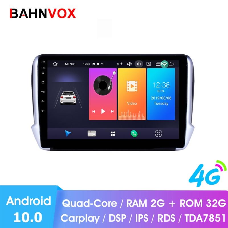 Carro multimídia player de vídeo android 10.0 para peugeot 2008 208 2014 2016 navegação do carro gps 2 din dvd