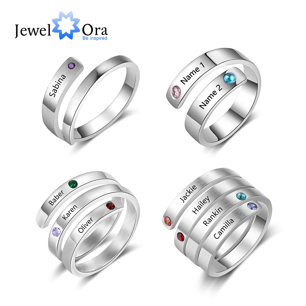 JewelOra Personalized Mothers Rings Custom Name Birthstone Wrap Rings for Women Engraved Jewelry Anniversary Gifts for Mom