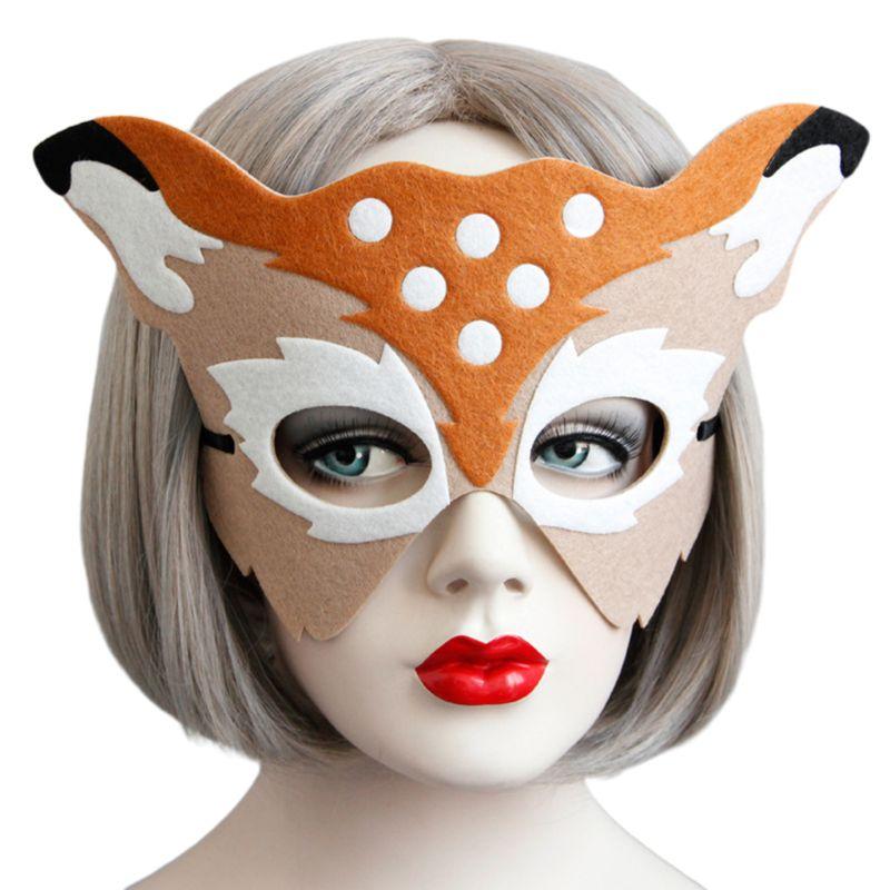 Adult Kids Christmas Masquerade Mask Cute Sika Deer Felt Half Face Eyemask Props