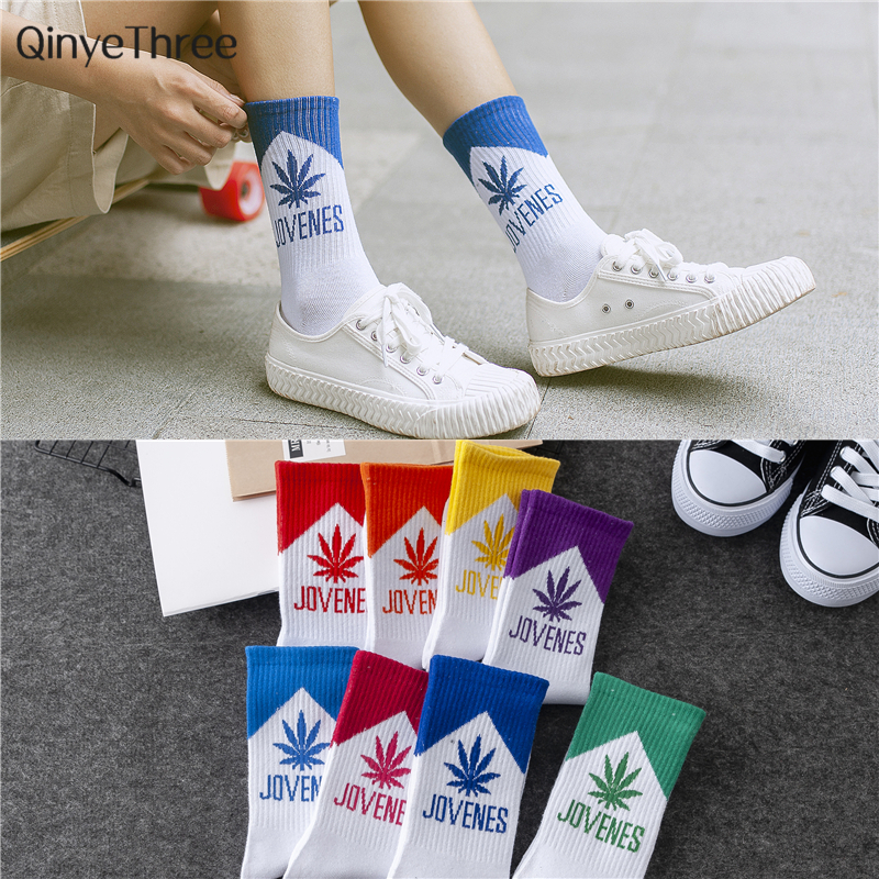 Harajuku Men's Humor Words Printing Socks Ulzzang Hip Hop Street Skateboard Unisex Crew Lovers' Happy Socks Dropship 2pcs=1pair