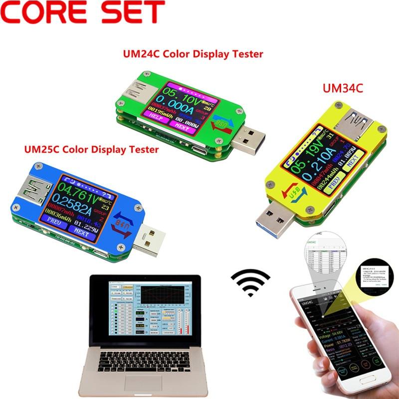 UM34/UM34C UM24/UM24C UM25/UM25C Color LCD Display USB Voltage Tester Current Meter Voltmeter Battery Charge Measure