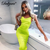 Dulzura neon satin lace up 2021 summer women bodycon long midi dress sleeveless backless elegant party outfits sexy club clothes 5