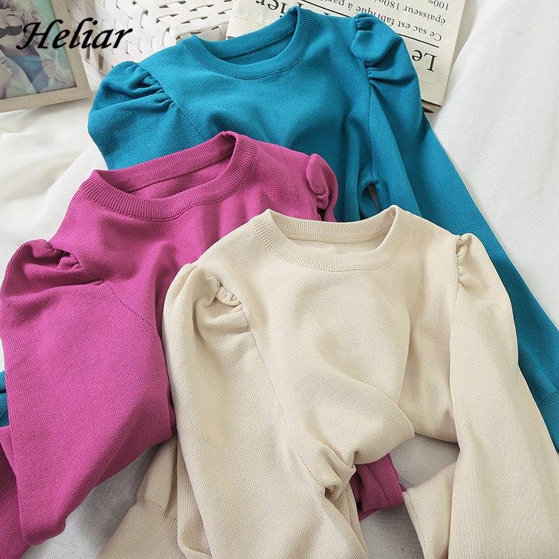 HELIAR Long Sleeve Knitting Blouse Pullovers Women 2020 Summer Shirt Elegant Blouse Tied Waist Elegant Women Blouses