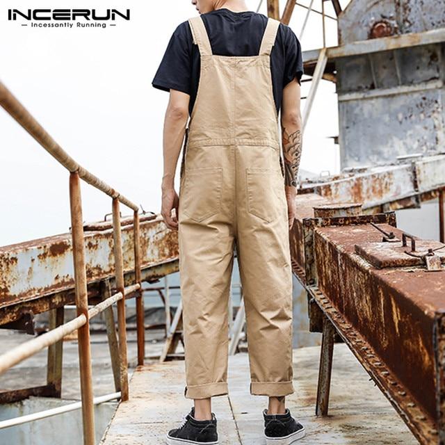 2021 Men Bib Pants Solid Color Casual Jumpsuits Streetwear Joggers Multi Pockets Fashion Suspenders Men Cargo Overalls INCERUN 4