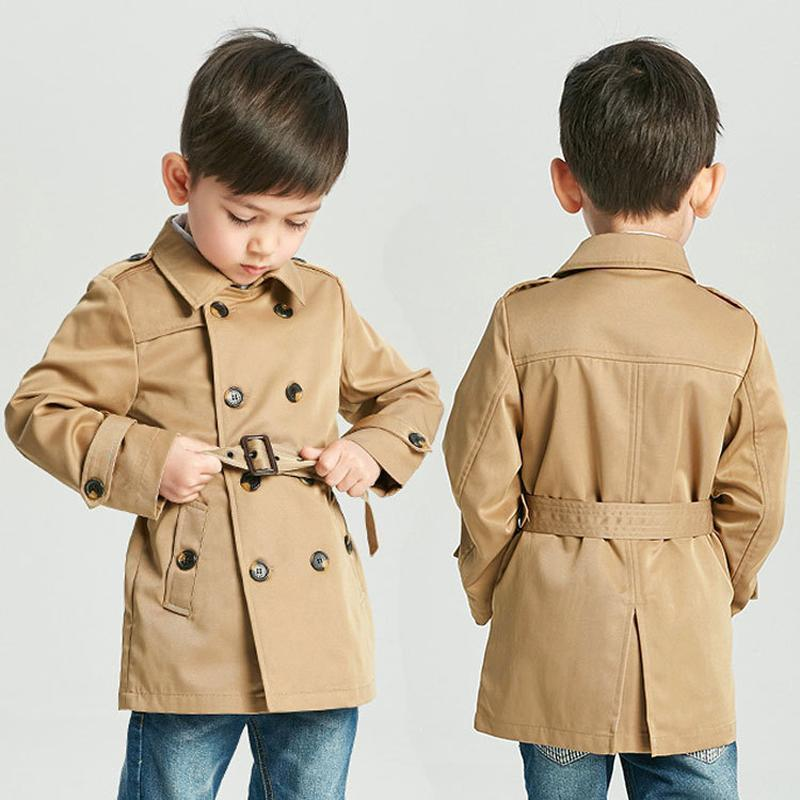 Kids Outwear Jacket Button-Belt Windbreaker Girl Clothes Coat Boy British Double-Breasted