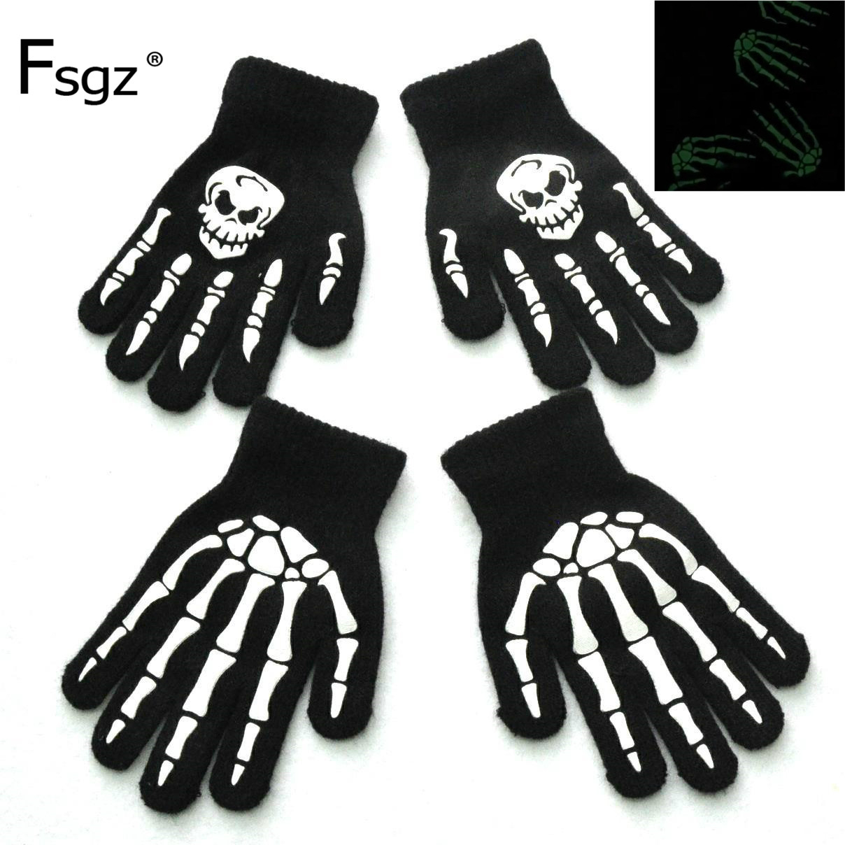 Knitting Gloves For Children 5-12 Years Old Light In The Dark Luminous Human Skeleton Head Ghostcrawler Print Fingers Gloves New