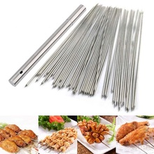 Kabob Skewers Grilling Reusable-Sticks Metal Stainless-Steel Wide Storage-Tube for