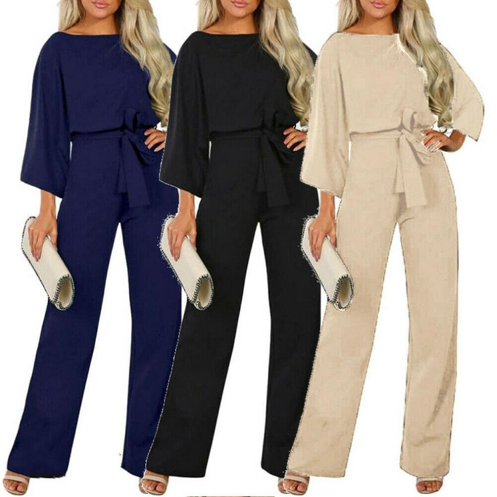 New Women Jumpsuit OL Wide Leg Belts Party Jumpsuit Playsuit Evening Party Bodysuit S-XXL Good Quality
