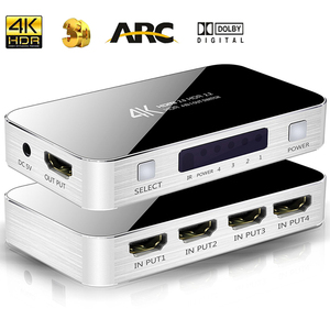 4K UHD HDMI 2.0 Switch HDMI Switcher audio extractor HDR ARC splitter 4X1 with remote(HDMI in to HDMI+toslink+stereo audio out)(China)